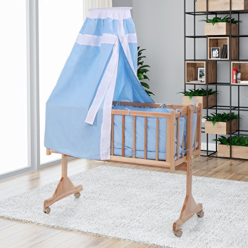 LAZYMOON Pine Wood Bassinet Cradle Child Nursery Side Bed Toddler Daybed Furniture w/ Canopy, Blue