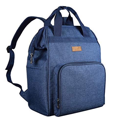 Diaper Bag Backpack, HapTim Large Multifunction Travel Back Pack Maternity Baby Nappy Changing Bags with Stroller Straps Insulated Pouches (Navy Blue 5337)