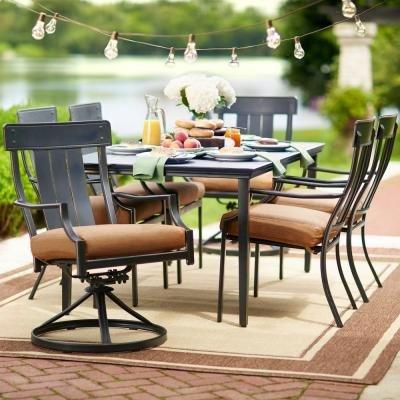 Oak Heights 7-Piece Patio Dining Set with Cashew Cushions (7 Hampton Patio Set Bay Piece Dining)