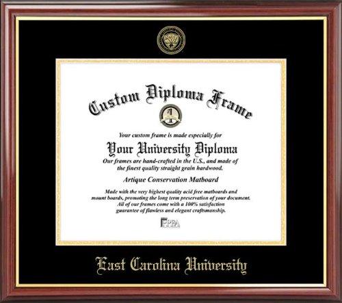 - Laminated Visuals East Carolina University Pirates - Embossed Seal - Mahogany Gold Trim - Diploma Frame