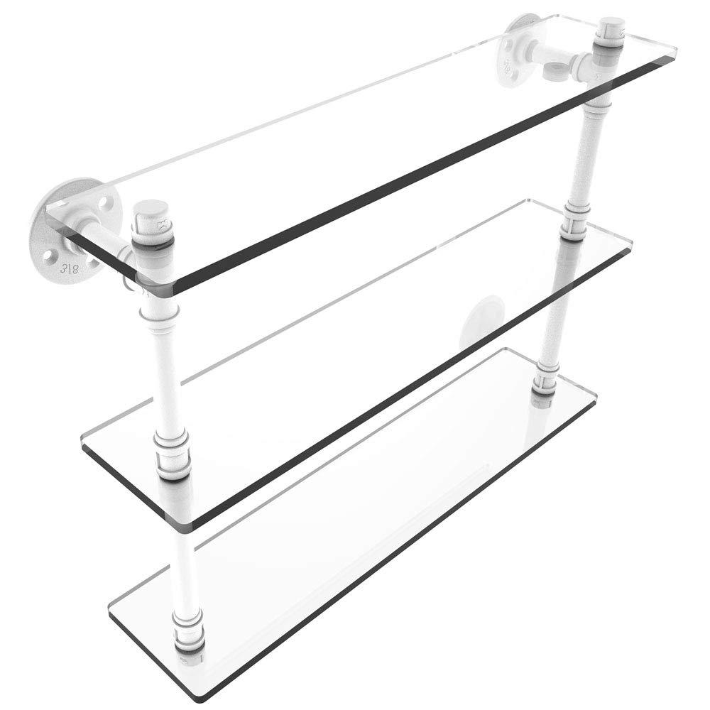 MD Group Pipeline 3-Tier Glass Shelf, 22'' x 16.9'' x 5.6'' x 14 lbs, Matte White