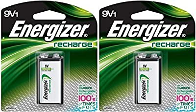 2 Energizer Rechargeable 9 Volt Batteries,