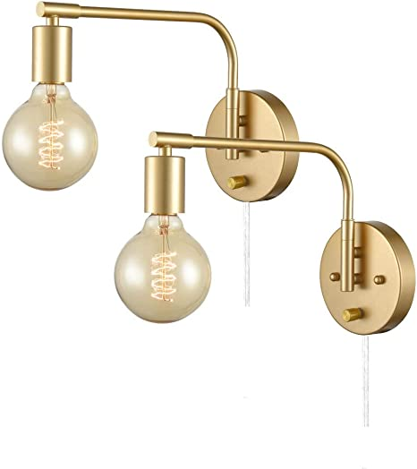Danxu Edison Brass Wall Sconces Set Of Two Sconce Plug In With Switch Swing Arm