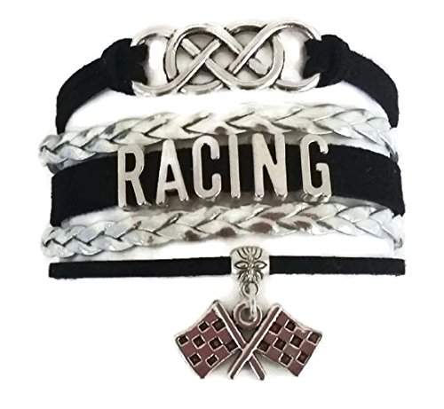 (Kit's Kiss Racing Bracelet, Racing Jewelry, Racing car Bracelet, Racing Flag Charm, Racing Gift, Double Infinity Bracelet, Sports Bracelet, Racing Leather Bracelet)