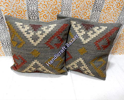 - 2 Pcs Throw Pillow Wool Jute Cushion Cover Indoor & Outdoor Sofa Killim Decorative Home Decor Fancy Wool Jute Throw Case Hippie Floor Rustic Designer Cushion Cover Outdoor & Indoor Handwoven Sofa Sham