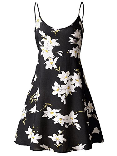 MSBASIC Women's Sleeveless Adjustable Strappy Summer Swing Dress Large MS6216-4 (For Drape Word Another)