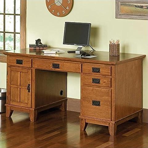 Home Style 5180-18 Arts and Crafts Double Pedestal Desk, Cottage Oak Finish - Mission Style Corner