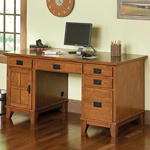 Home Style 5180-18 Arts and Crafts Double Pedestal Desk, Cottage Oak Finish - Oak Double Pedestal Desk