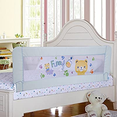 Gray Color Baby Bed Rail Extra Long Bed Guard Safety Bedrail Stop Falling for Kids Fits Toddler to Queen & King Size Bed, All Size