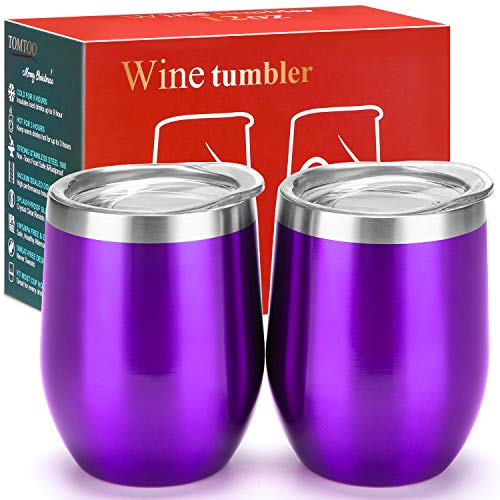 (TOMTOO Wine Tumbler With Lid - 12 oz Double Wall Vacuum Insulated Travel Tumbler Cup - 2 Pack Wine Glasses Perfect Father's Day Gifts (12 oz, U-Purple 2 pack))