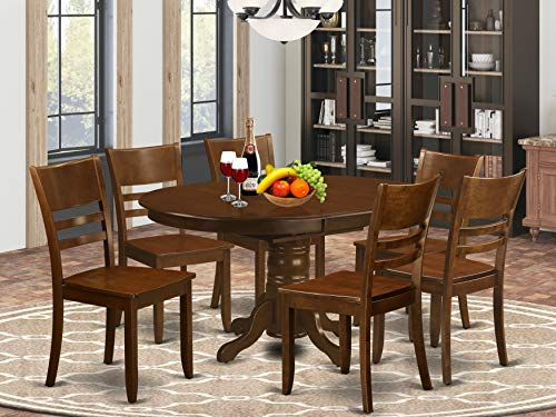 """7 Pc Kenley Dining Table with a 18"""" Leaf and 6 hard wood Kitchen Chairs in Espresso ."""