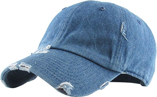(KBETHOS Vintage Washed Distressed Cotton Dad Hat Baseball Cap Adjustable Polo Trucker Unisex Style Headwear (Vintage) Medium Denim Adjustable )