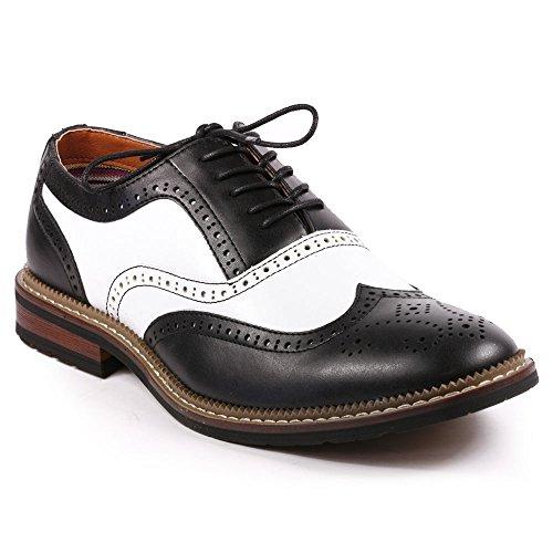 Metrocharm MET525-2 Men's Perforated Wing Tip Lace Up Oxford Dress Shoes (10, Black / (Black White Oxford Men)