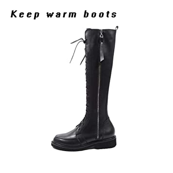 f4f56d5f3e30a Image Unavailable. Image not available for. Color: XUE Women's Shoes PU  Winter Combat Boots Boots Flat Heel ...