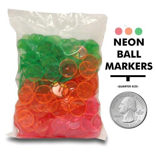 Golf Ball Markers - NEON - 500 Pack Bulk Golf Ball Markers
