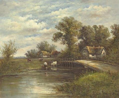 (Oil Painting 'Decorative Landscape Painting Of The Farm By The River' Printing On Perfect Effect Canvas , 8x10 Inch / 20x25 Cm ,the Best Kids Room Gallery Art And Home Gallery Art And Gifts Is This Cheap But High Quality Art Decorative Art Decorative Prints On Canvas)