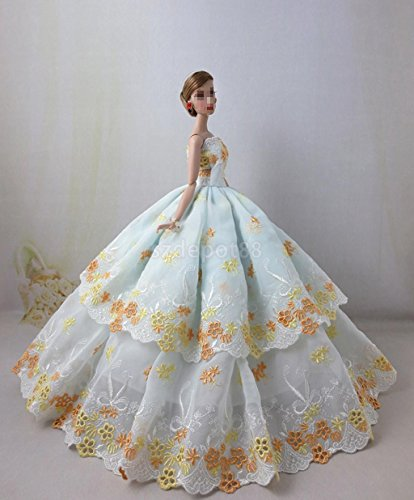 Gorgeous Floral Embroidery Dress Wedding Party Gown Dress by uptogethertek