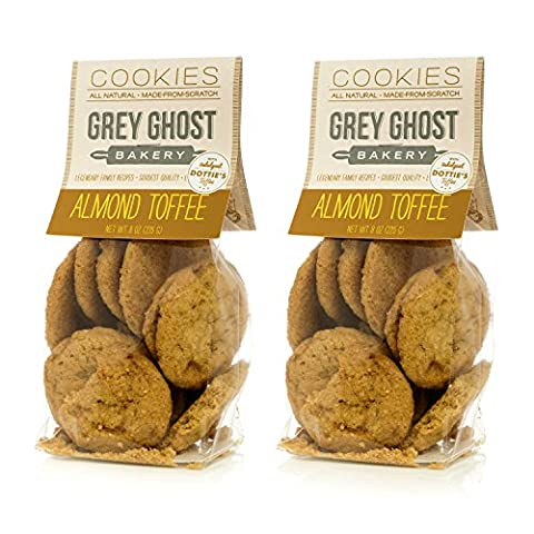 Grey Ghost Bakery Chewy Buttery Decadent Almond Toffee Cookies 2x 8 oz bags (approx 24 cookies) - Buttery Almond