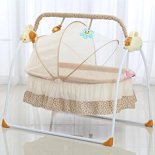 Decdeal Electric Baby Portable Bassinet Cradle, Auto Remoter Control Swing Rocking Sleeping Playing Basket Bed with Music(3 Color)