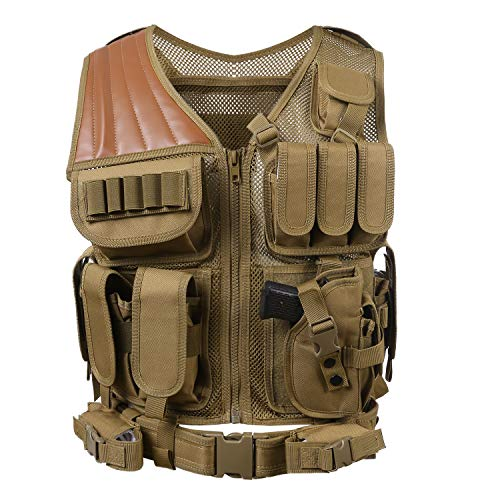 - Hotsung Tactical Vest for Military Combat Training/Field Operations and Special Missions - Lightweight Breathable Airsoft Vest/Adjustable Sizes/Men/Women/600D Assault Gear