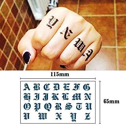 Oottati 2 Hojas Dedo Alfabeto Inglés Tatuajes Temporales TF316 ...