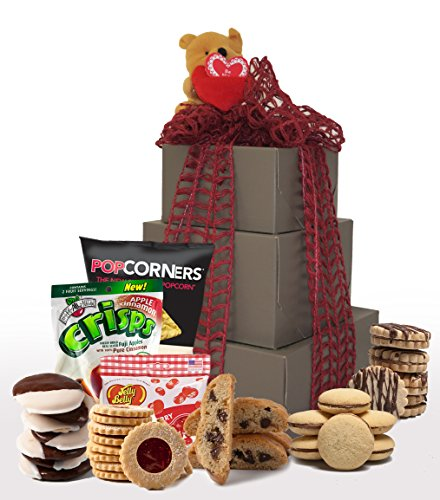 Gift Luxury Tower (XOXO! Kosher Valentines Day Gluten Free Gift Basket, Gluten Free Valentine Treats, Valentine Gift Basket, Tower Gift Boxes (Large))