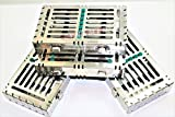 5 GERMAN DENTAL AUTOCLAVE STERILIZATION CASSETTE RACK BOX TRAY FOR 7 INSTRUMENTS GREEN ( CYNAMED )