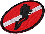 Keenso Diving Badge, Scuba Diving Ellipse Flag Patch Bag Embroidered Dive Badge Memento with Iron-on Back