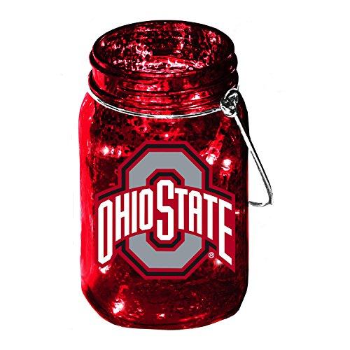 Team Sports America Ohio State University Mason Jar LED Lantern with String Lights, Team Logos and Colors