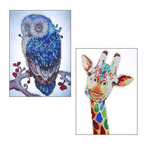 (LYTIVAGEN 2 Pcs 5D Diamond Painting Kit Owl Giraffe DIY Diamond Embroidery Cross Stitch Kit for Home Wall Decoration(30x40cm))