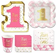 Big Dot of Happiness Fun to be One - 1st Birthday Girl with Gold Foil - Party Tableware Plates, Napkins - Bund