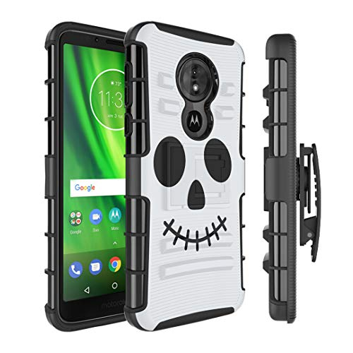 Moriko Case Compatible with Moto G6 Play, Moto G6 Forge [Armor Layer Drop Protection Shockproof Kickstand Holster Combo Black Case] for Motorola Moto G Play 6th Gen - (Halloween -