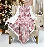 Sherpa Throw Blanket Super Soft and Warm Plaid Fleece Reversible Blanket 50