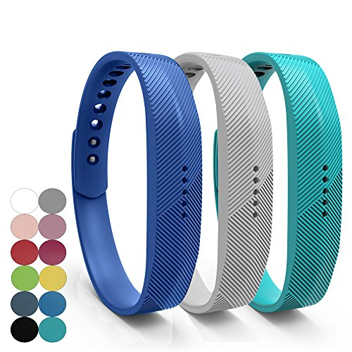 Accessory Replacement Wristband,Classic Soft Silicone with Metal Clasp Buckle Wrist Strap Watch Band Holder Case Pouch for Fitbit Flex 2 Fitness Activity Tracker(Small/Large Size) ()