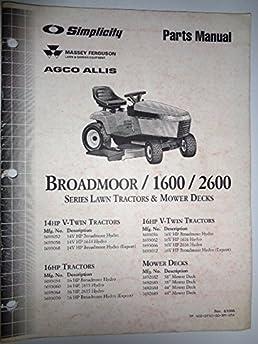 simplicity mf agco allis broadmoor 1600 2600 series lawn garden rh amazon com Simplicity Broadmoor Hydro 14 Simplicity Broadmoor Hydro 15