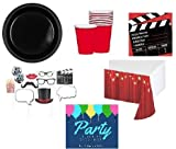 Hollywood Theme Movie Theme Party Supplies Pack Deluxe for 20 Guests - Large Plates, Napkins, Cups, Table Cover & Movie Photo Props