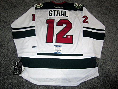 (Autographed Eric Staal Jersey - w BAS COA New Large - Beckett Authentication - Autographed NHL Jerseys)
