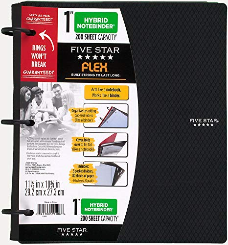 - Five Star Flex Hybrid NoteBinder, 1 Inch (Hybrid Black)