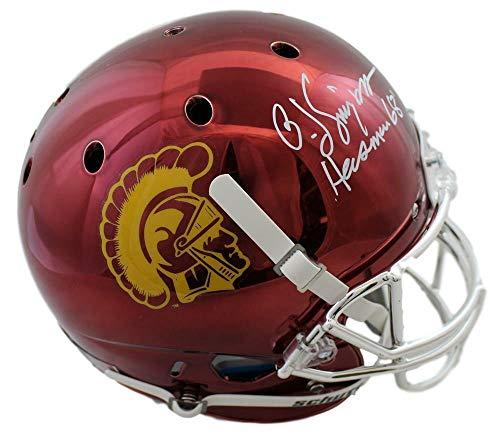 (OJ Simpson Autographed USC Trojans Chrome Replica Helmet Heisman JSA 20805)