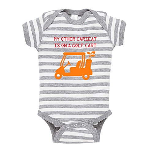 My Other Car Seat is On A Golf Cart Baby Kid Stripe Fine Jersey Bodysuit Grey 18 Months
