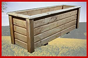 Maceta classiv 100x 40x 40cm de madera barnizado con barniz para madera teca