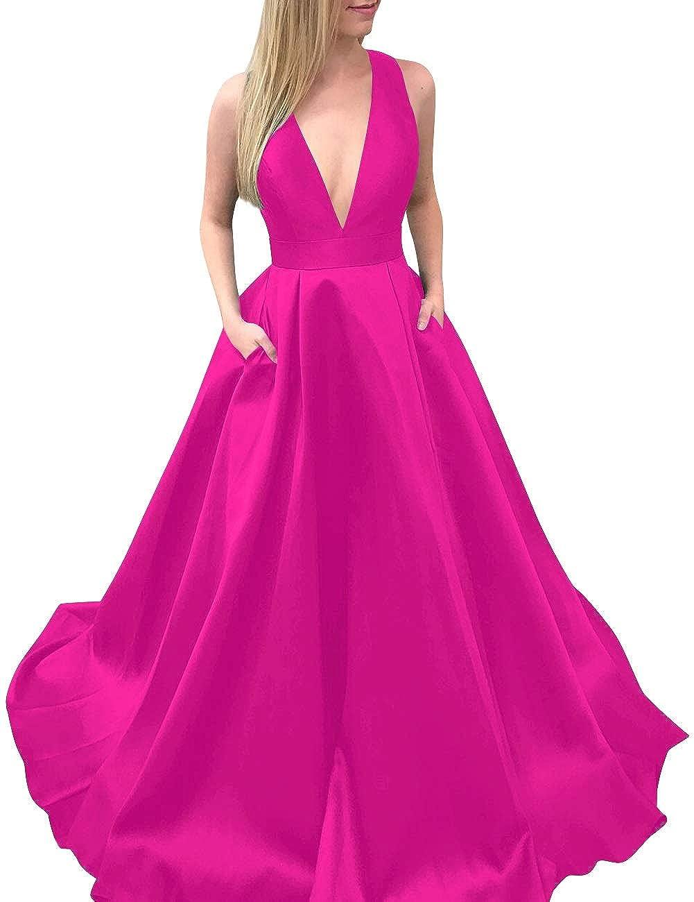 Fuchsia MorySong Women's Deep VNeck Bowknot Back Satin Prom Evening Dress with Pockets