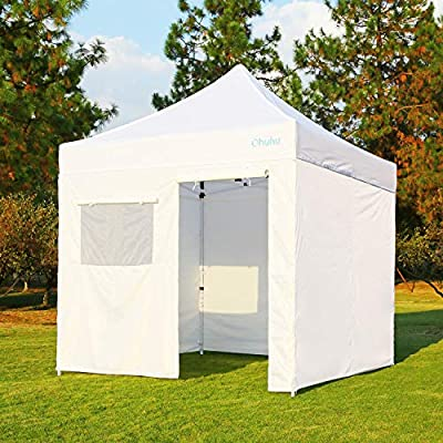 Ohuhu Sturdy 10 x 10 FT Pop-up Canopy Tent with Reinforced Metal Frame, 4 Removable Zipper End Side Walls & Wheeled Carrying Bag, Bonus 4 Weight Bag : Garden & Outdoor