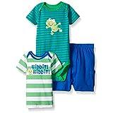 Gerber Baby Three-piece Bodysuit Lap-shoulder Shirt and Short Set, Frog/Exclusive, 6-9 Months
