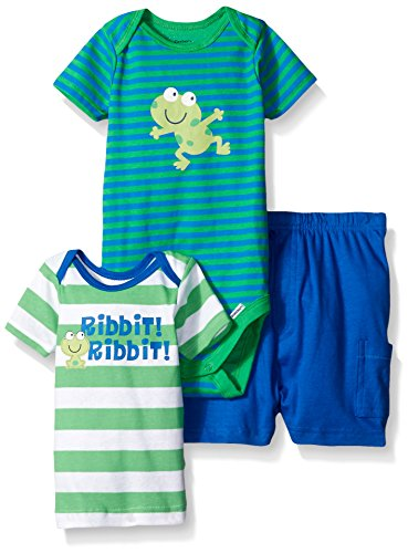 Gerber Baby Three-piece Bodysuit Lap-shoulder Shirt and Short Set, Frog/Exclusive, New Born