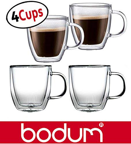 Bodum Bistro 5-Ounce Double Wall Glass, Espresso Coffee Cups Mugs - Clear (Set of 4 ()
