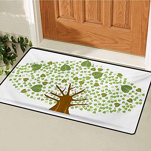 (GUUVOR Tree Inlet Outdoor Door mat Sacred Fig Bodhi Tree Illustration Full of Leaves Spiritual Enlightenment Catch dust Snow and mud W15.7 x L23.6 Inch Green Brown and White)