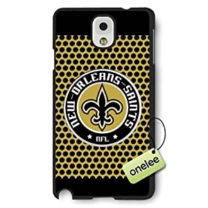 Personalize NFL New Orleans Saints Team Logo Frosted Black Samsung Galaxy Note 3 Case Cover - Black