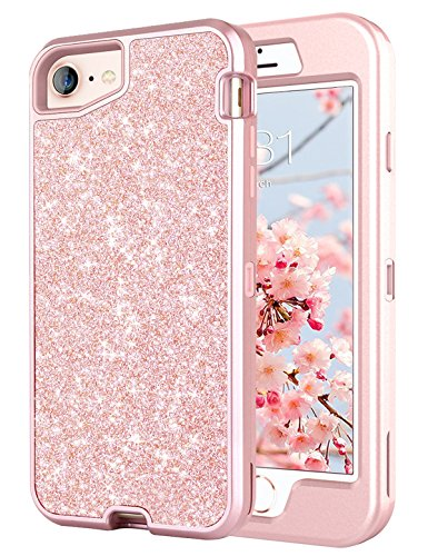 iPhone 8 Case, iPhone 7 Case, iPhone 6/6s Case(Not Plus), Tobomoco Bling Sparkle Glitter Slim Shockproof Drop Protection 3 in 1 Hybrid Hard PC Soft TPU Bumper Protective Case for Women Cute Rose Gold