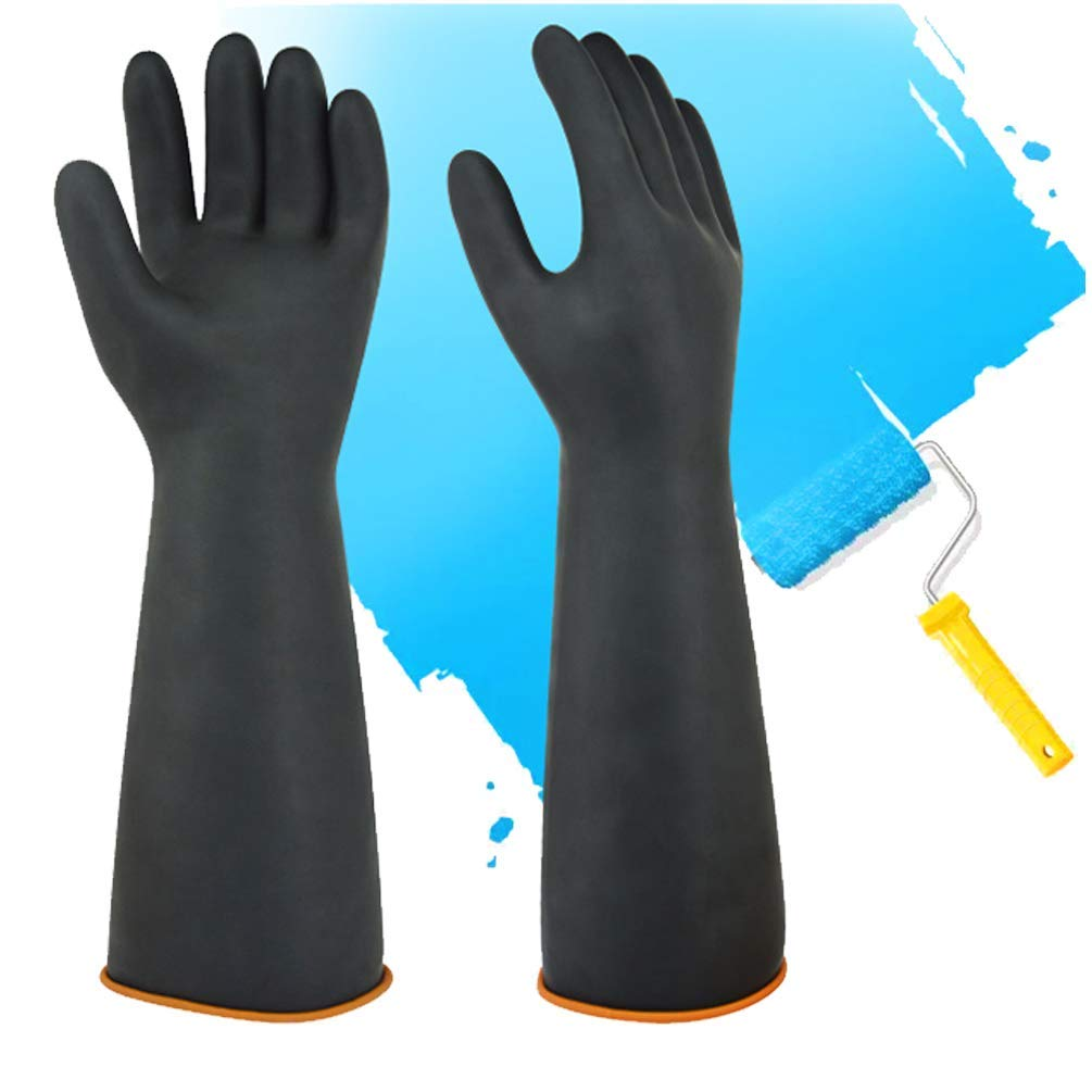 Resist Strong Acid 14 Black Heavy Duty Gloves Latex Chemical Gloves Resistant Rubber PPE Industrial Safety Work Protective Long Gauntlets Gloves Alkali and Oil
